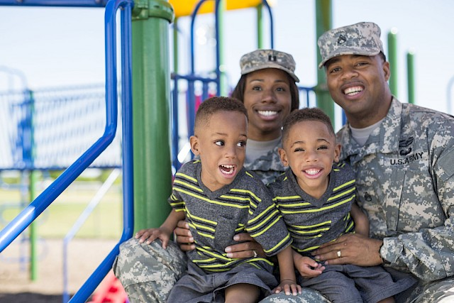 Wooten family with twins and 2 service members